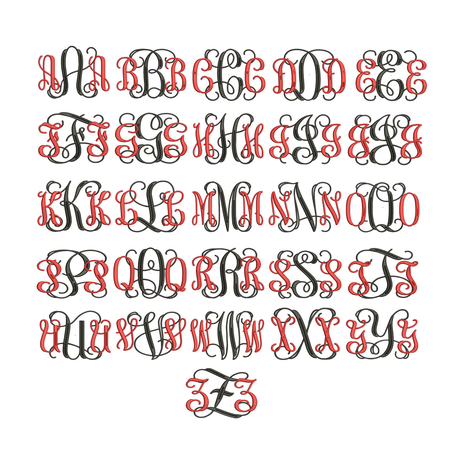18 interlocking embroidery font images