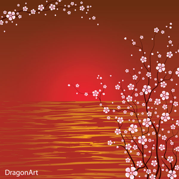 18 Japanese Cherry Blossom Vector Sillouette Images