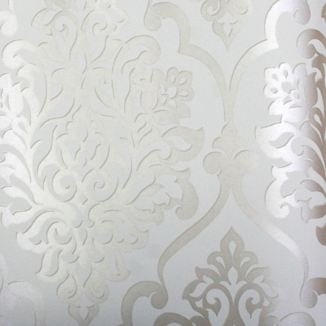 Metallic Silver and White Damask