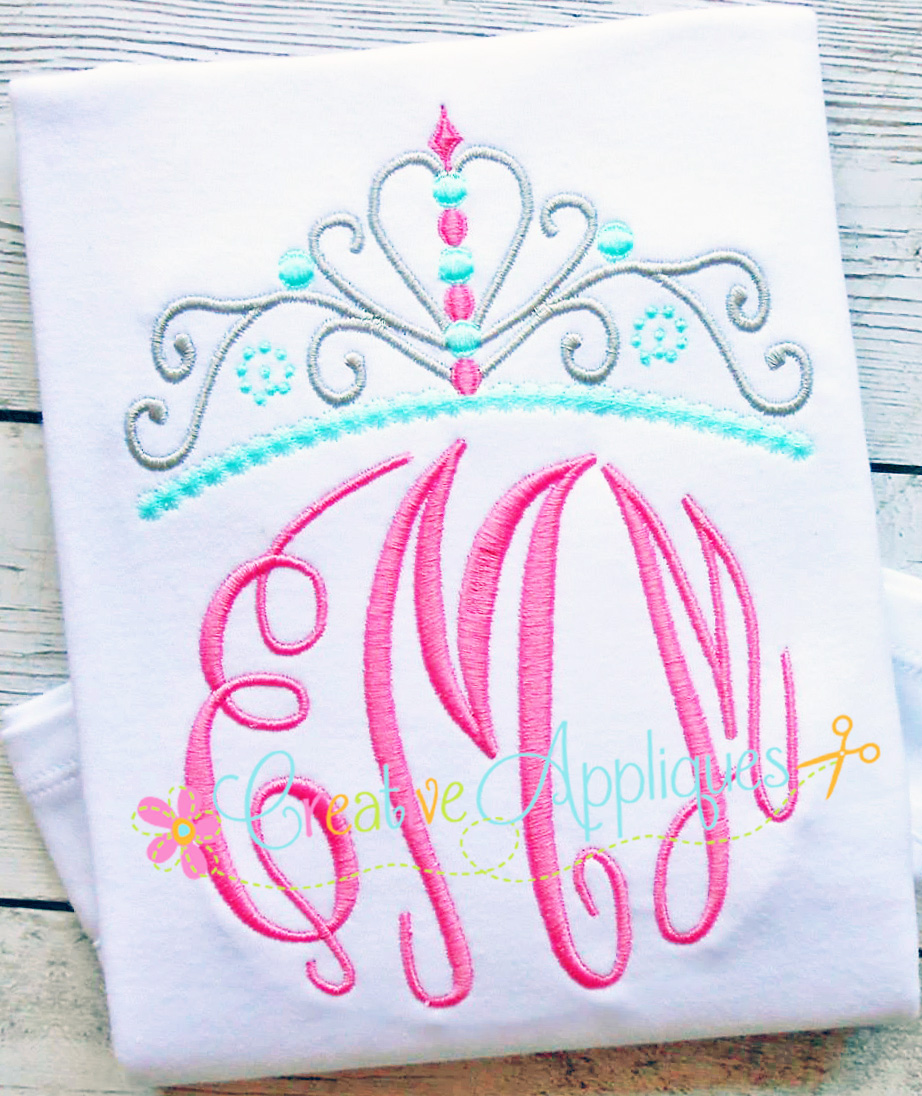 Monogram with Crown Embroidery Design