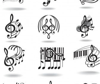 Music Notes and Treble Clef Staff