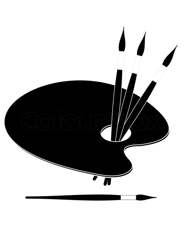 8 paint palette vector black images paint brush clip art