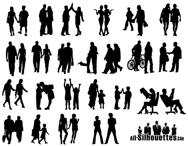 16 People Silhouette Vector Clip Art Images