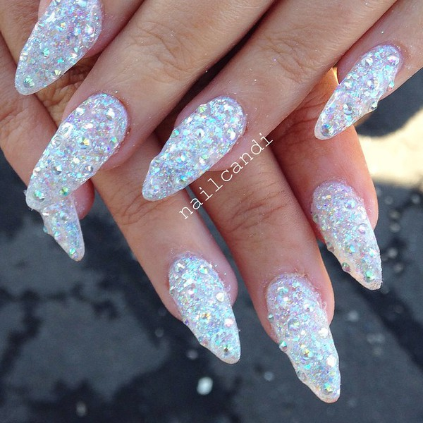 7 Silver Glitter Acrylic Nail Designs Images