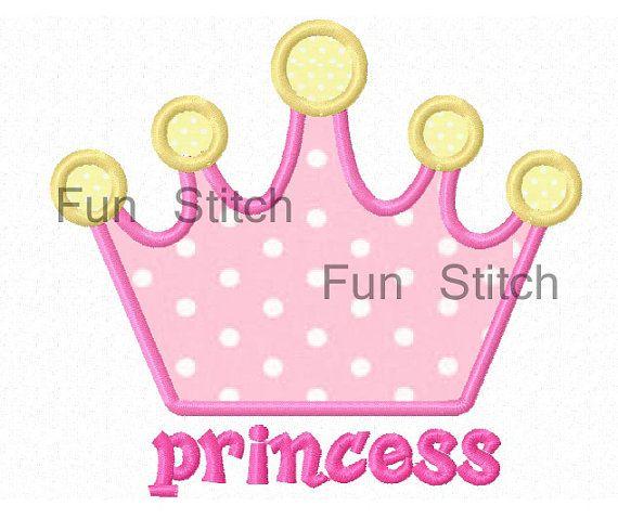 Princess Crown Machine Applique Embroidery Design