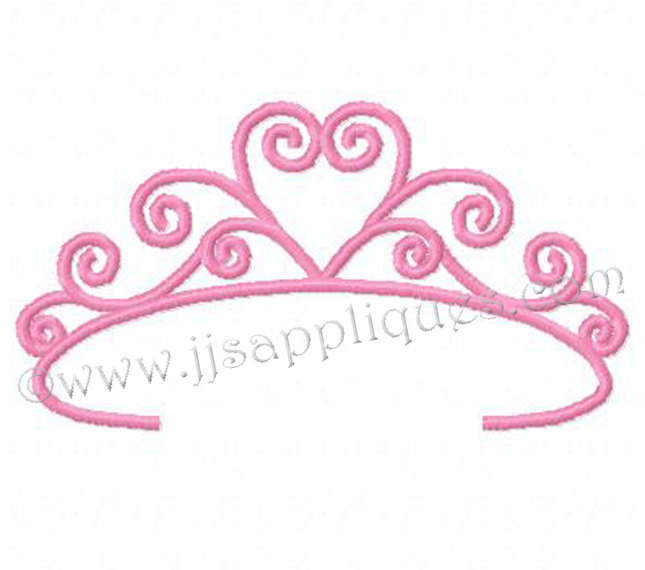 12 Princess Crown Applique Embroidery Design Images