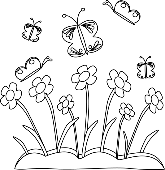 Spring Flowers Clip Art Black and White