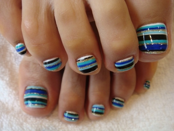 14 Striped Toe Nail Designs Images