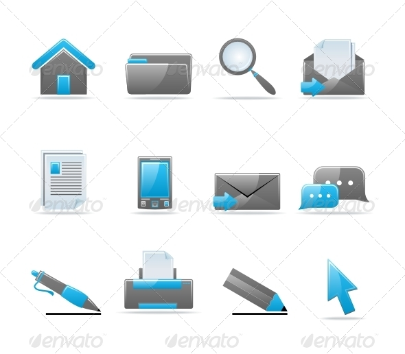 8 Extensive Blue Glossy Icon Set Images