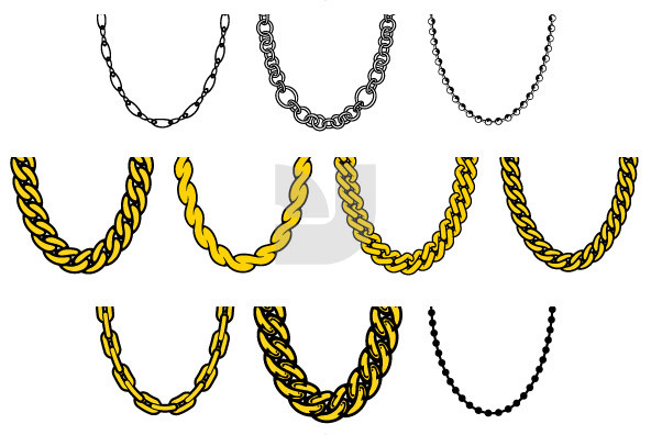 8 Gold Chain Vector Images