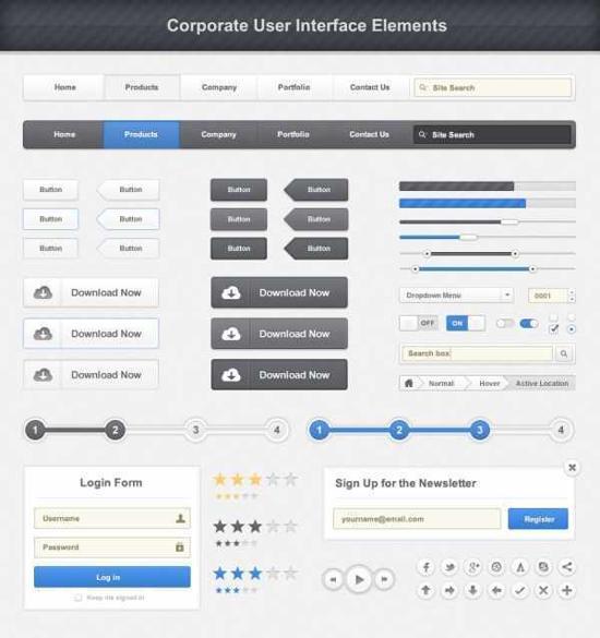 Web Design Elements PSD