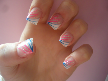 white tip nails with design