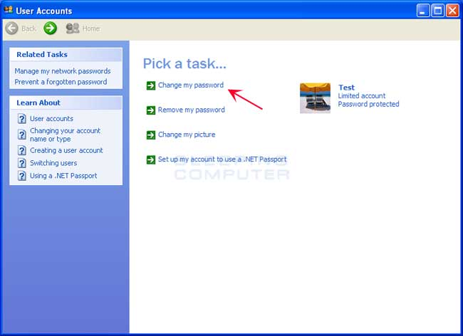 Windows XP Change User Account