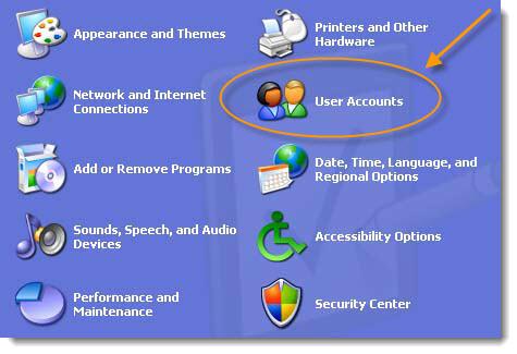 Windows XP User Account Control Panel