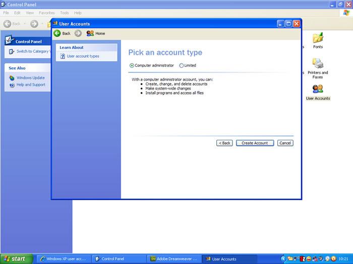 Windows XP User Accounts Screen