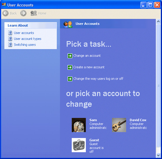 Windows XP User Accounts
