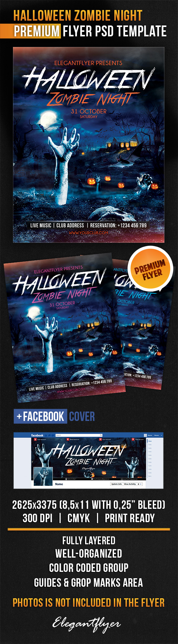 11 Zombie Halloween Flyer Free PSD Images