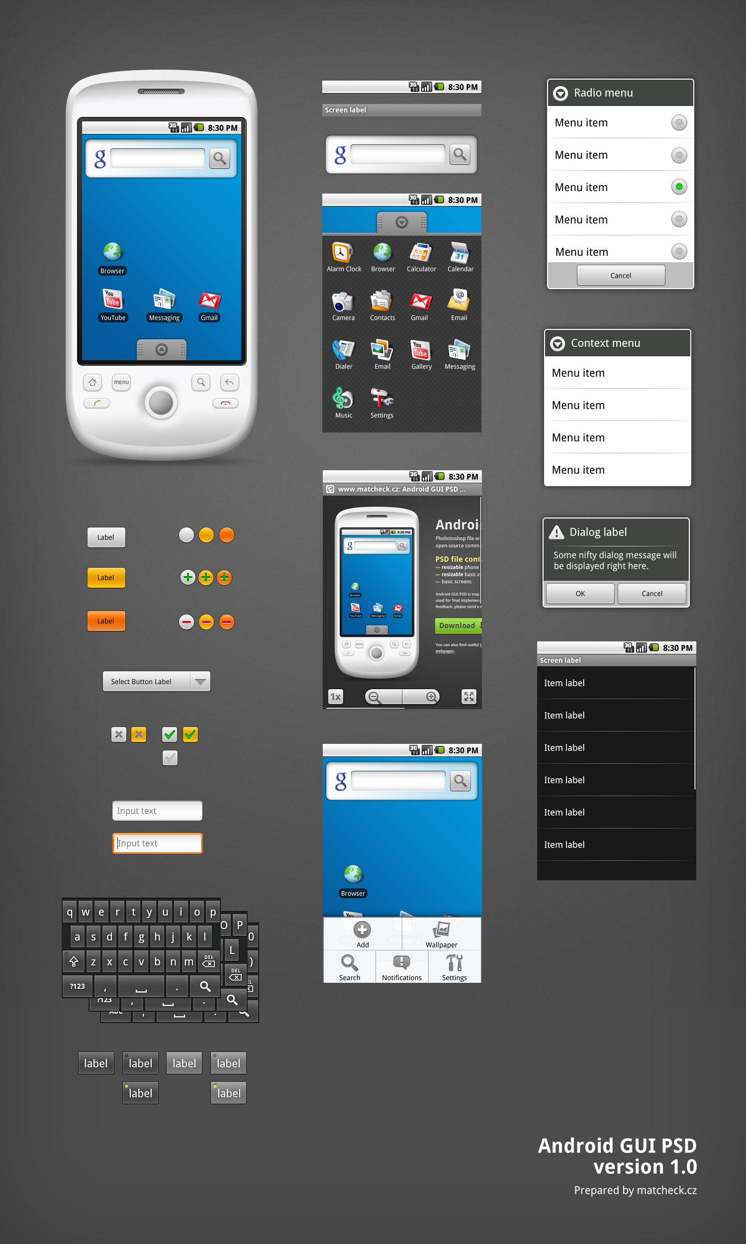 Android UI Template PSD