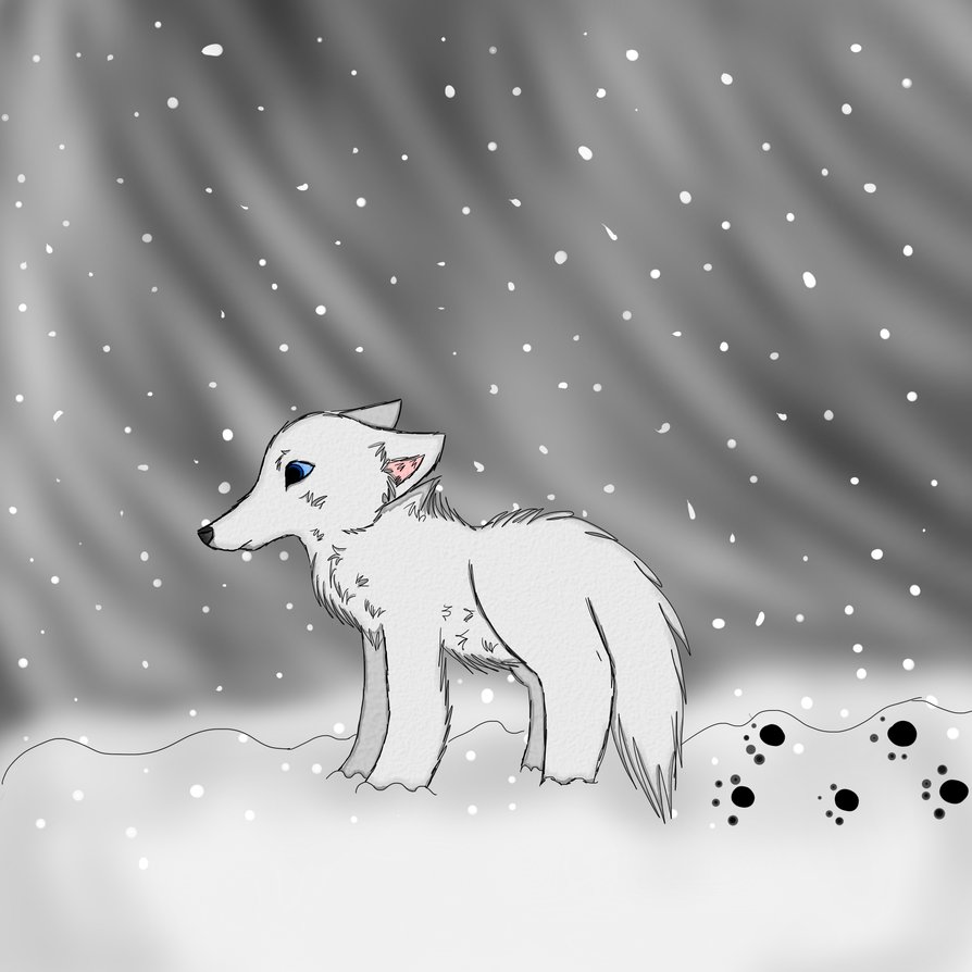 Arctic Wolves in Snow Drawing