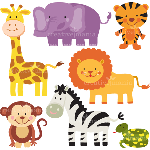 16 Baby Jungle Cartoon Animals Vector Images - Cartoon ...