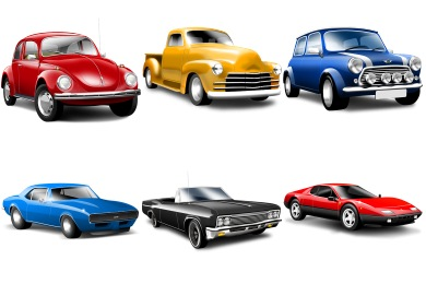 12 Classic Automobile Cartoon Icons Images