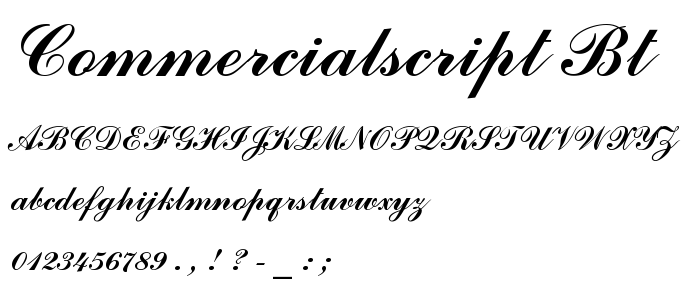 Commercial Script Font