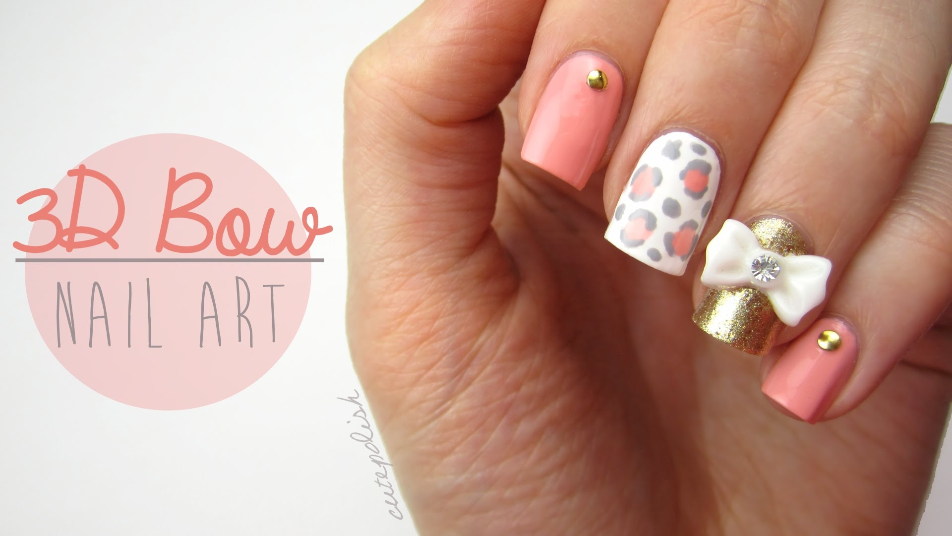 Cute Nail Designs with 3D Bows