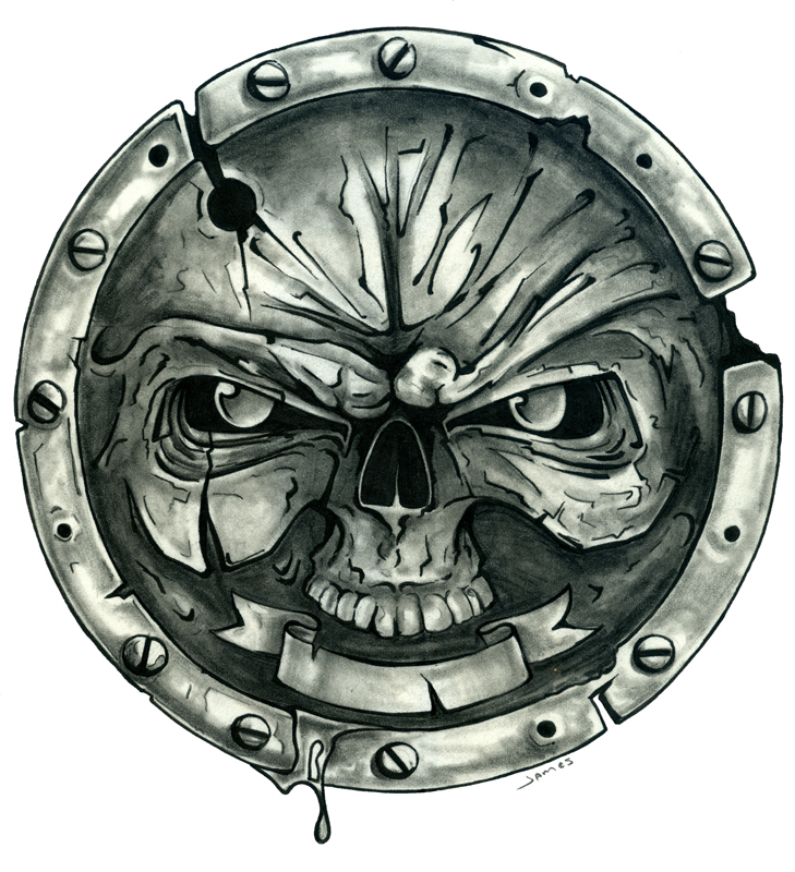 17 Cool Skull Shield Designs Images