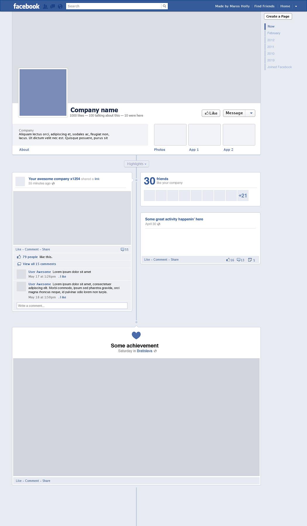Facebook Blank Timeline Template