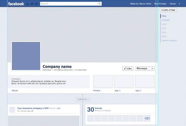 Facebook Timeline Page Template
