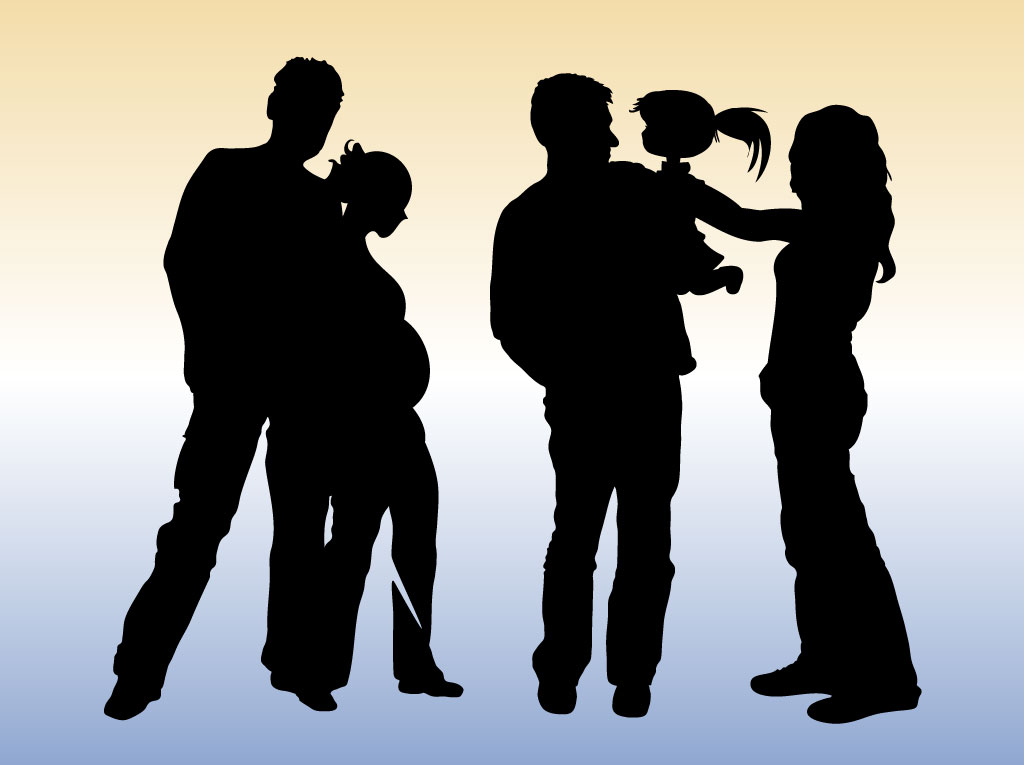 9 Family Shopping Silhouette Vectors Images