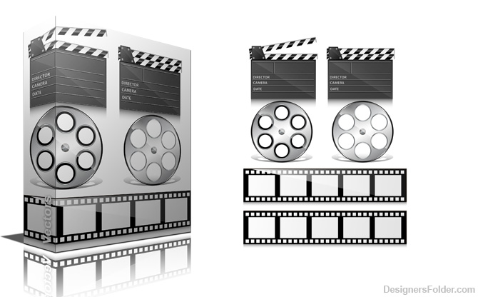 12 Film Reel Symbol Photoshop Brushes Images