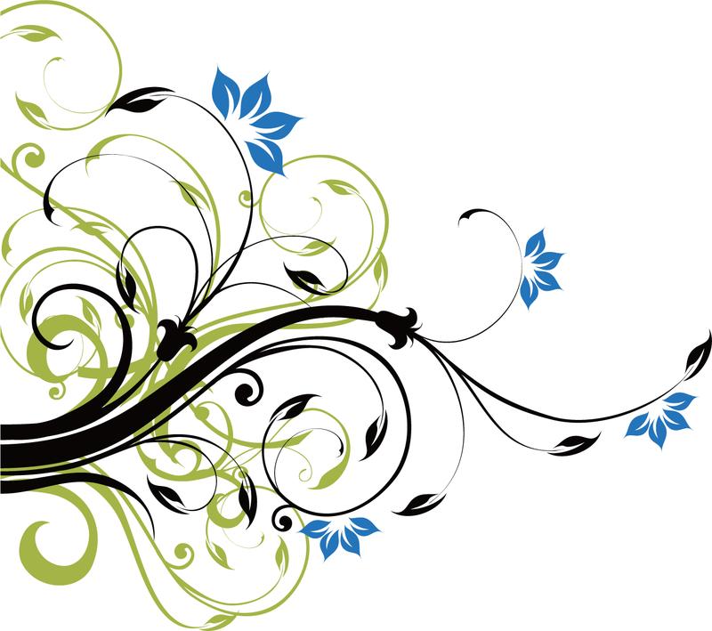 12 Flowers Clip Art Swirl Vectors Images