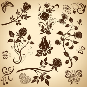 5 Vintage Floral Vector Design Elements Images