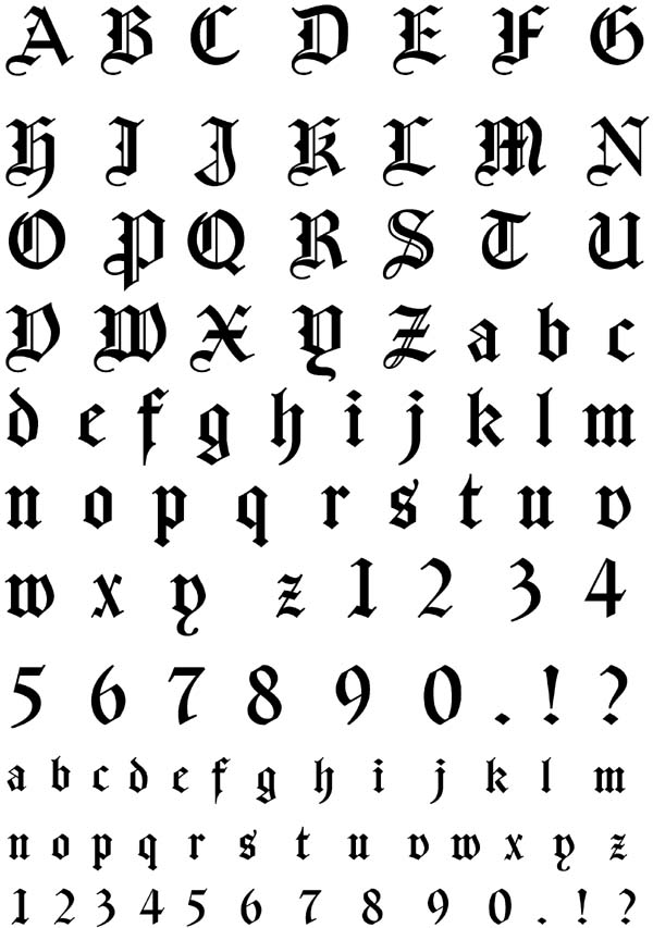 11 German Gothic Font Number Images