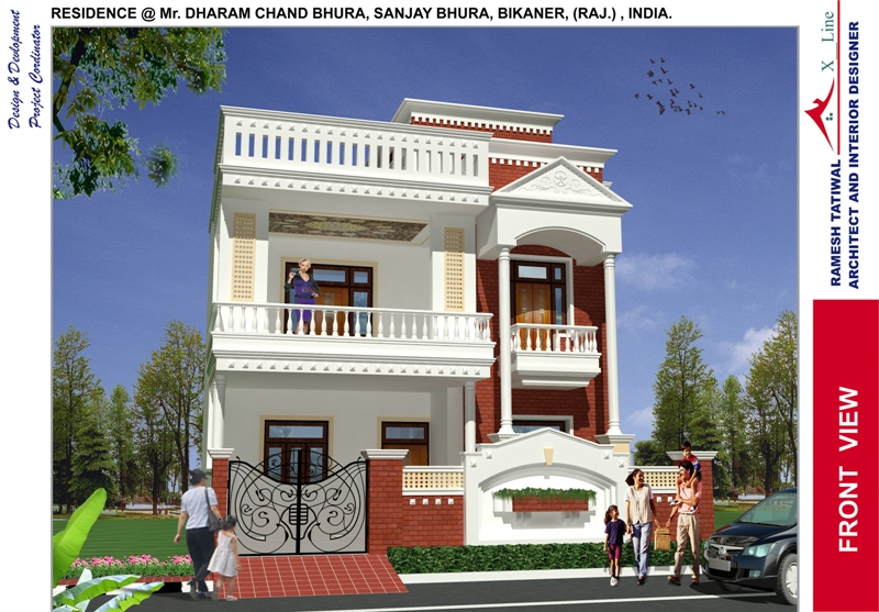 10 home design front view images modern house design for Indian home garden design