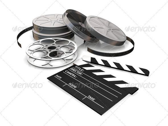 Movie Film Reel and Clapper