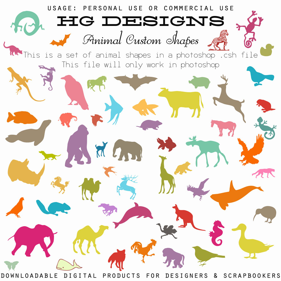 Photoshop Custom Shapes Animals