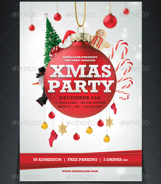 image about Free Printable Christmas Party Flyer Templates called 18 Absolutely free Xmas Flyer Style and design Templates Shots - Printable