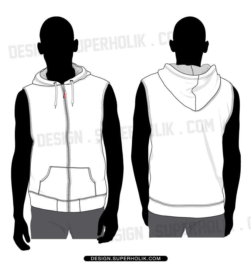 Sleeveless Hoodie Shirt Template