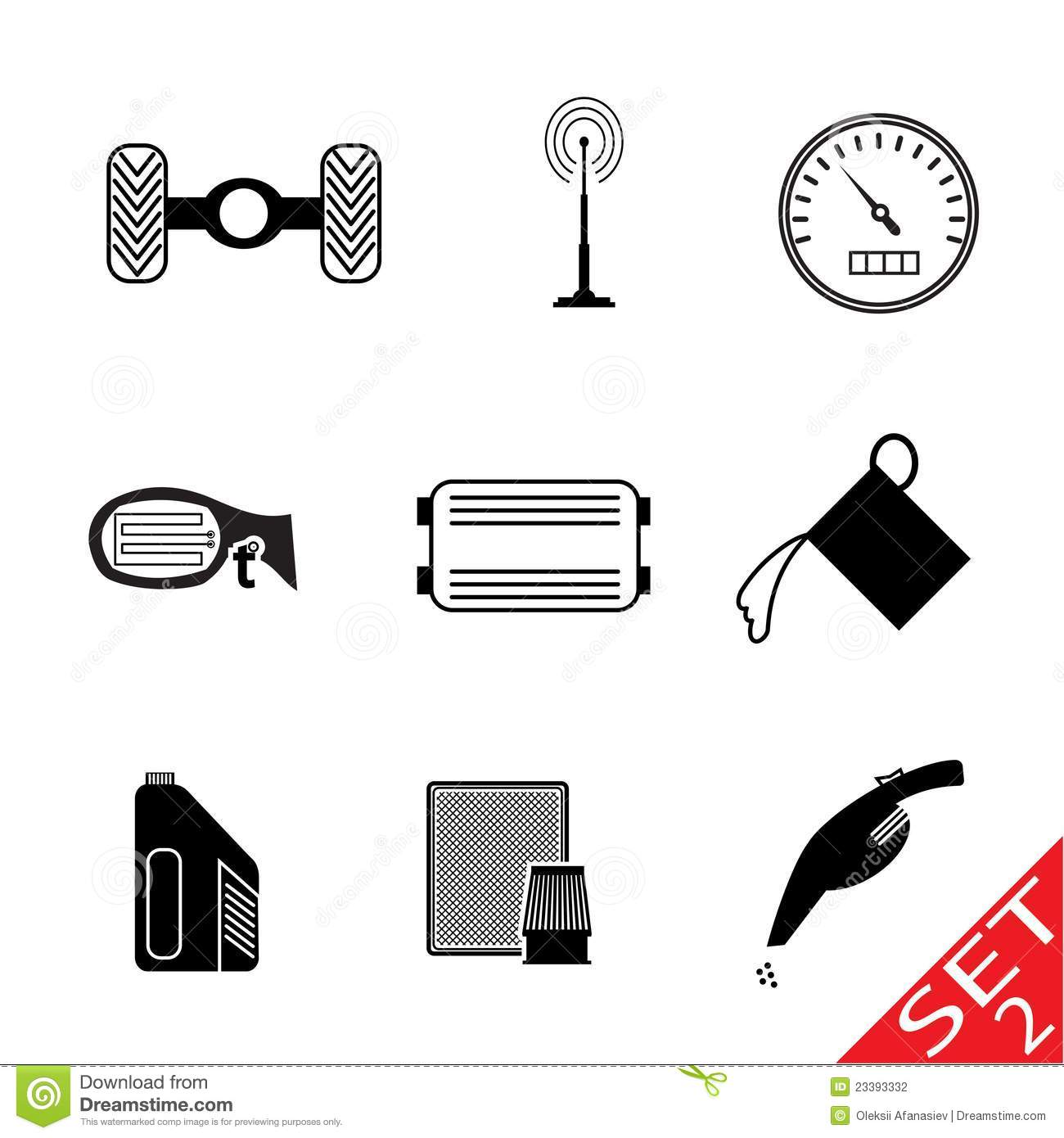 Vector Icons Set Car Parts