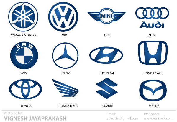 13 Automotive Logos Vector Images