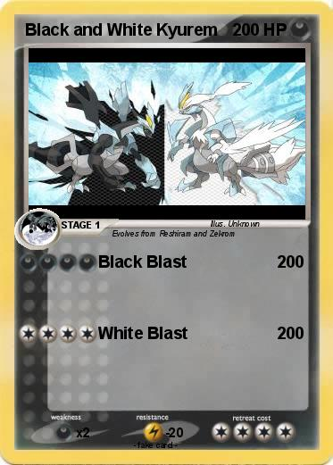 Black and White Kyurem Pokemon Cards