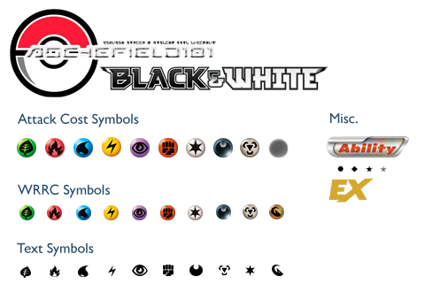 Black and White Pokemon Type Symbols