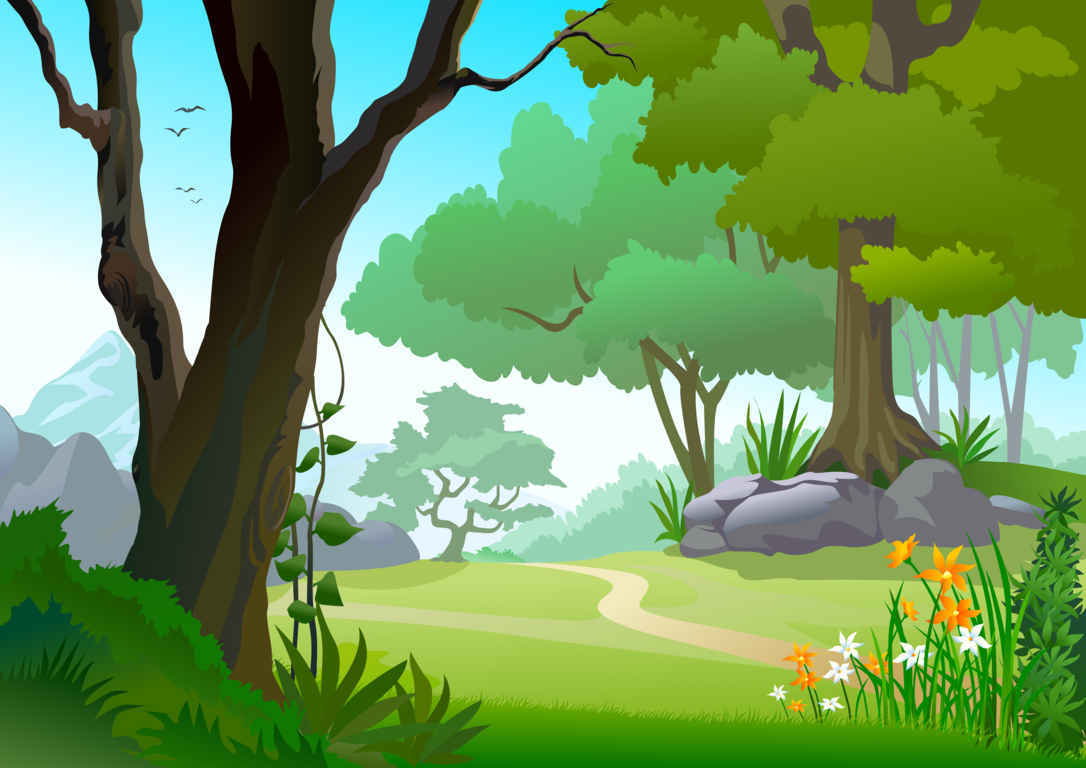 Cartoon Forest Tree Landscape