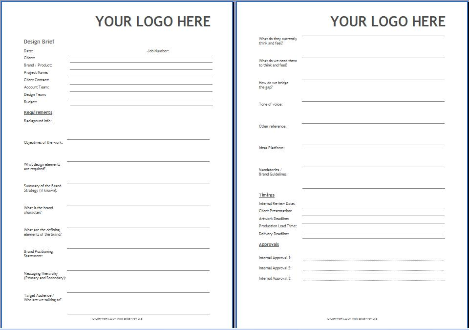 Design brief format template images