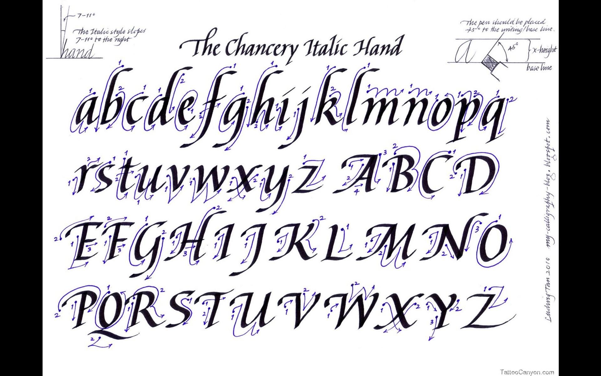 printable alphabet letter fonts via fancy cursive tattoo writing