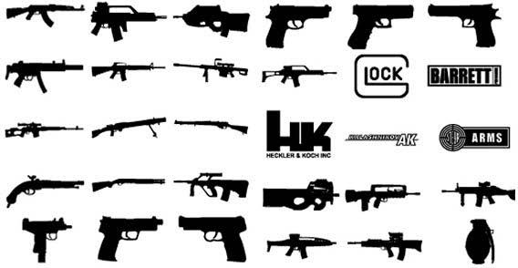 18 Gun Vector Graphic Images
