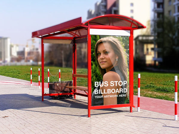 Free Psd Mockup Bus Shelter