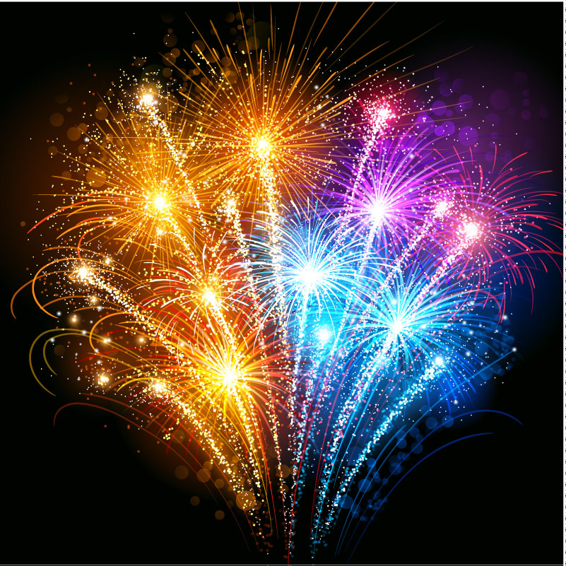 12 Free Vector Fireworks 2014 Images